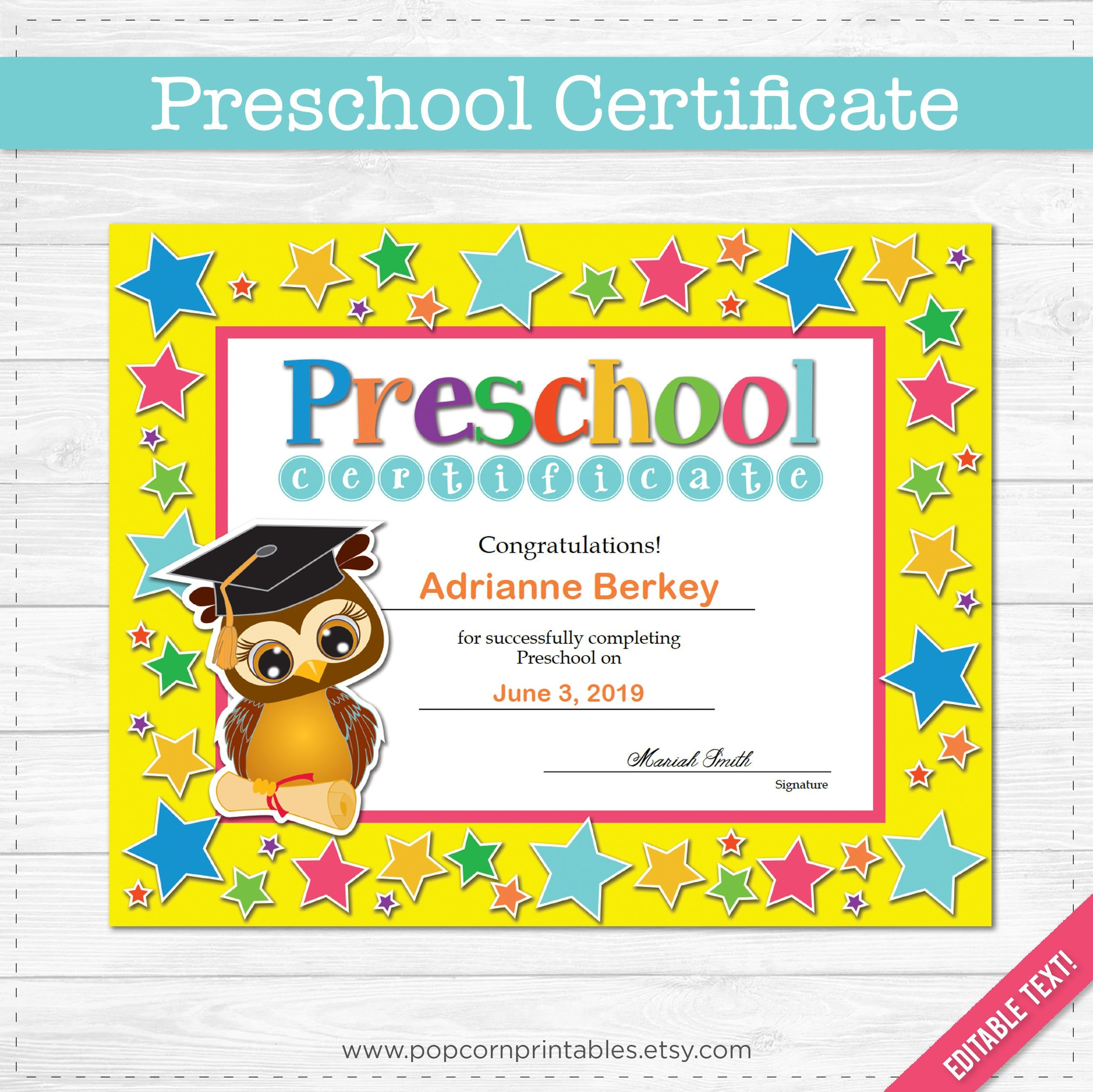 Preschool Graduation Diploma Certificate Instant Download Pdf File