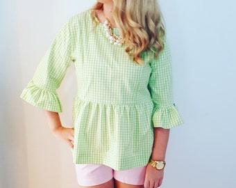 womens top the Carolina top shown in lime gingham Holiday top custom made by Collyn Raye