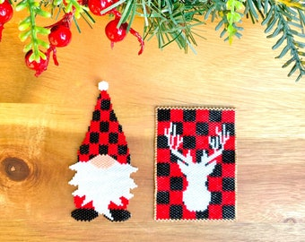 COMBO - Peyote Stitch or Brick Stitch Christmas Gnome Pattern and Christmas Deer, Digital Pattern, Beaded Pattern, Peyote and Brick Stitch
