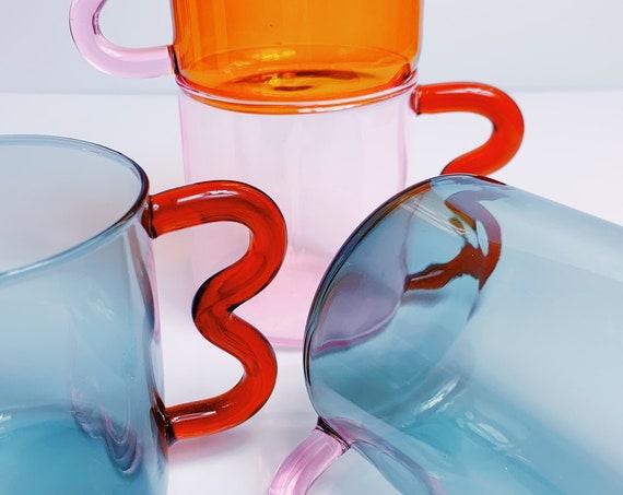 Soremo Design Pink colored Ear Glass clear Mug- Handmade Wave Coffee Cup. High borosilicate glass.