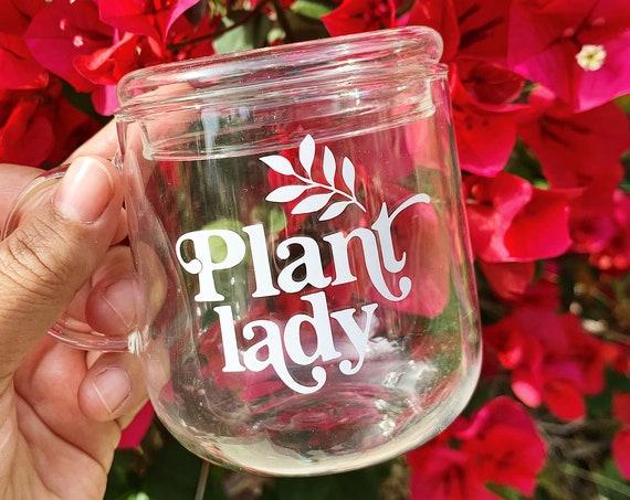 Plant lady clear coffee mug includes 1 lid and 1 straw - High borosilicate glass.