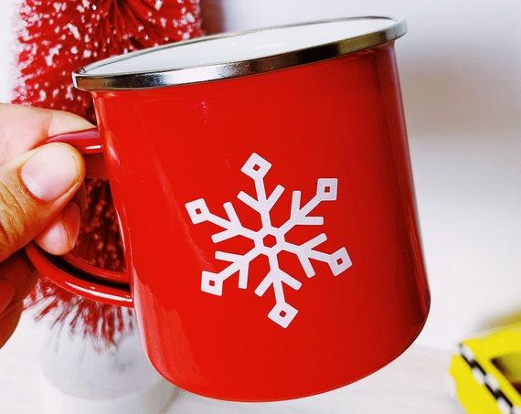Red enamel -Merry Christmas mug