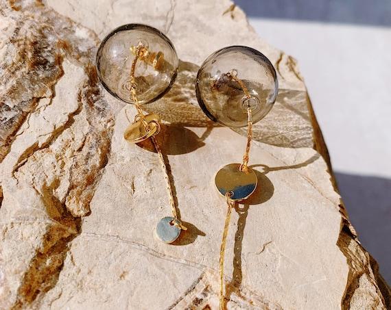 Clear Glass Sphere- Statement earrings