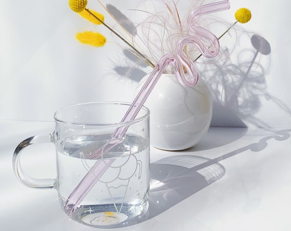 Clear mug and PINK crazy glass straw