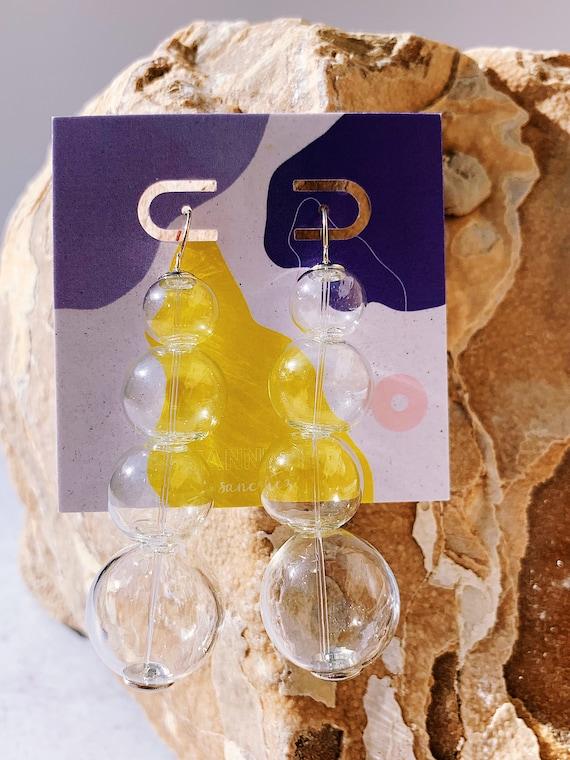 Glass Spheres- Statement earrings