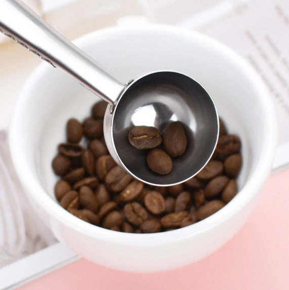 Coffee spoon with self attachable bag clip-Stainless Steel