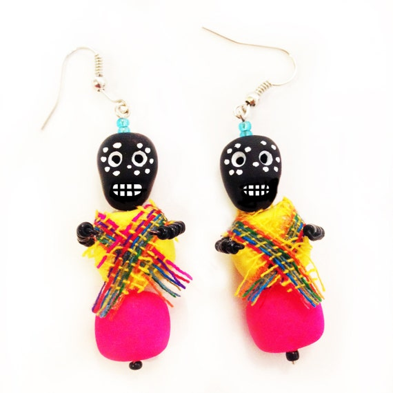 Mexican kitsch day of the dead earrings