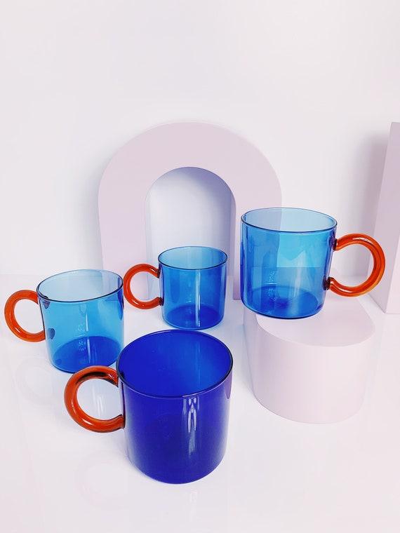 Clear glass Sapphire colored mug.