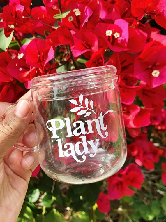 Plant lady clear coffee mug includes 1 lid and 1 straw - High borosilicate glass.