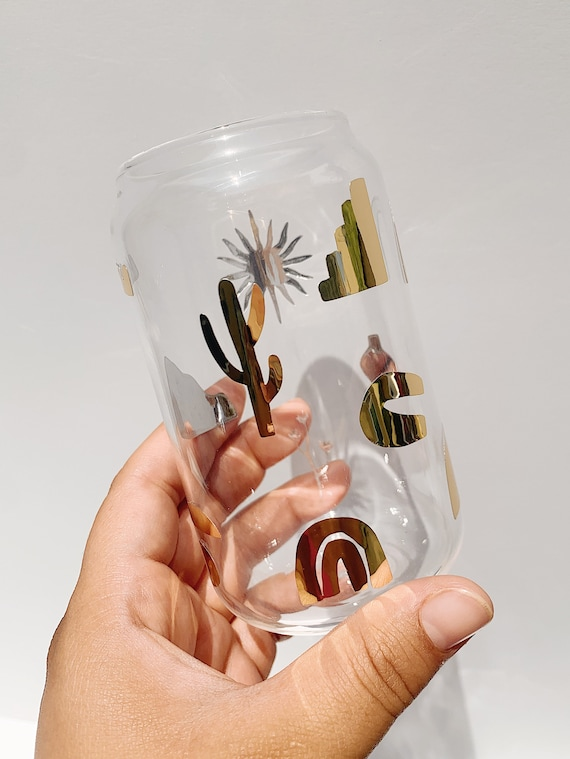 Boho gold can glass