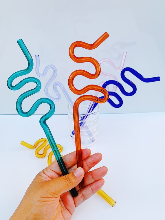 Crazy Wobbly Glass drinking straw- reusable and Handmade by local artist- Limited Edition.