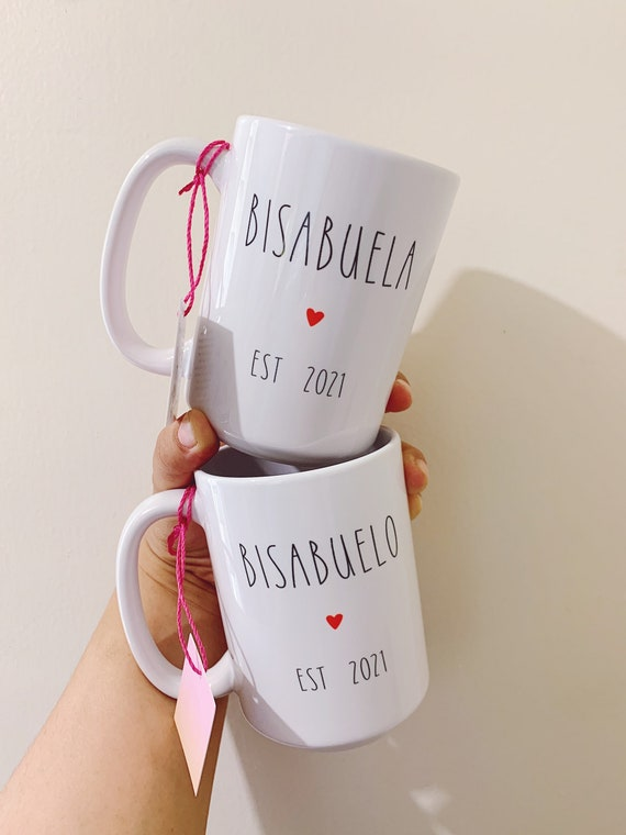 Bisabuela and bisabuelo announcement coffee mugs.