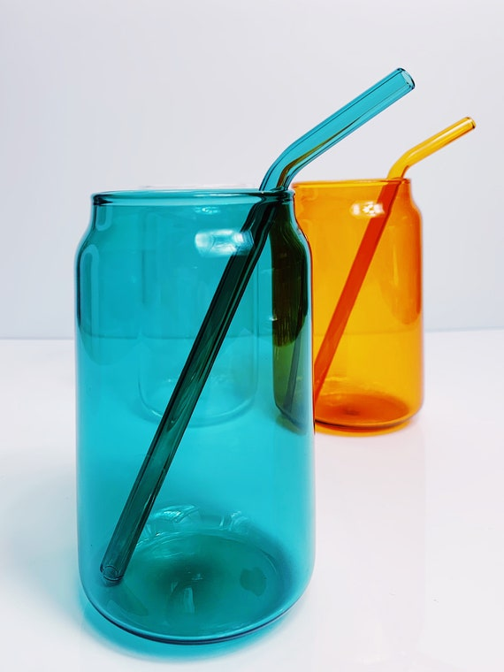 Coke can glass + 1 bend straw / Different colors, High endurance borosilicate glass.