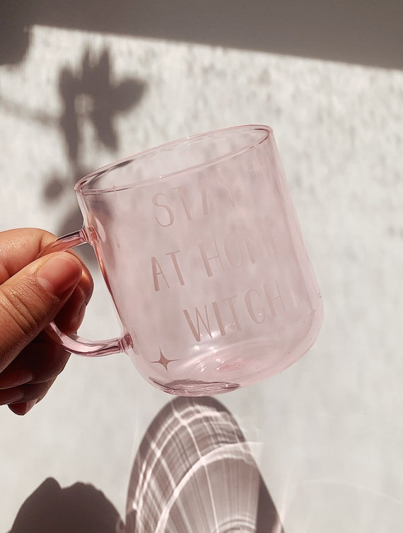 Stay at home with-Pink clear glass mug