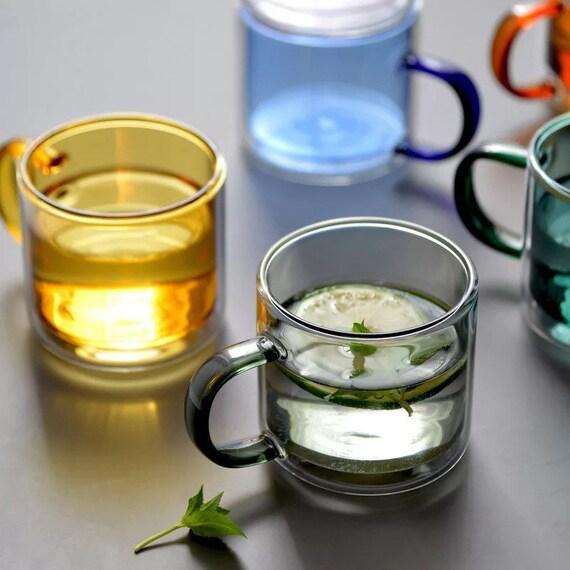 Clear Double wall, mouth blown Colorful glass mug. Colored glass coffee mug.