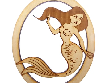 Personalized Mermaid Christmas Ornament - Wooden Mermaid - Mermaid Ornament - Mermaid Decor