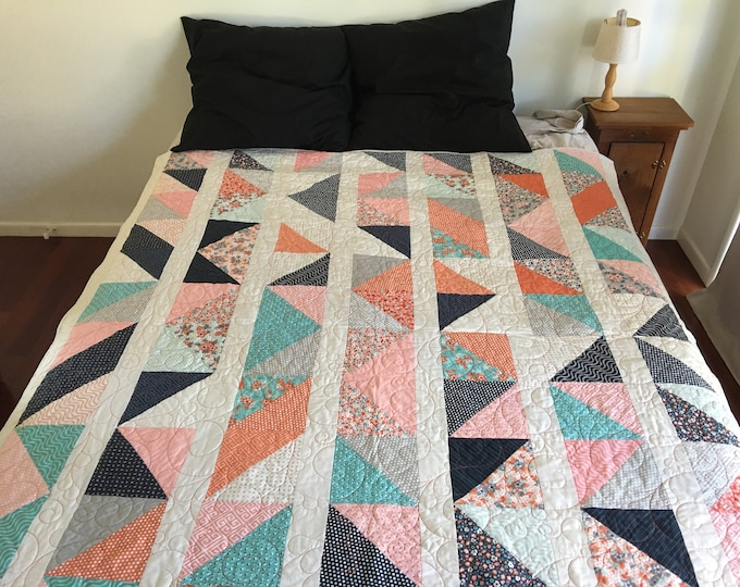 Featured listing image: PDF Pattern | Mixed Triangles Quilt Pattern | Quilting Pattern | immediate download