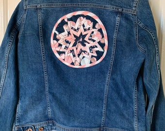 Vintage Ladies Denim Jacket - Embellished with Whizz Bang fabric panel