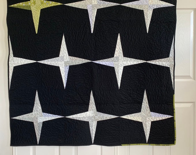 Featured listing image: Rising Star Quilt | Lap size Quilt | Modern Design