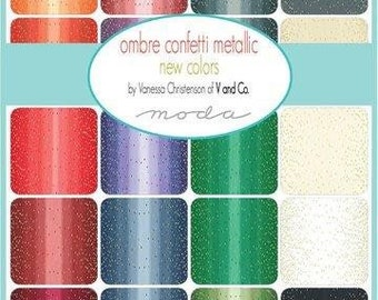 Half Yard Ombre Confetti Metallic by Vand Co for Moda | patchwork fabric | quilters cotton | modern fabric