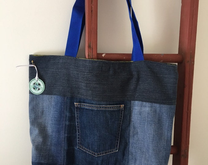 Featured listing image: Denim Tote Bag | Recycled Denim | Upcycling Denim | Eco Friendly | Say not to landfill
