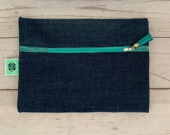 Recycled Demin Jean Zippered Pouch