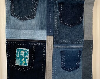 Wall Hanging | Boho Home Decor | Recycled Jeans | Boro Hand Stitching