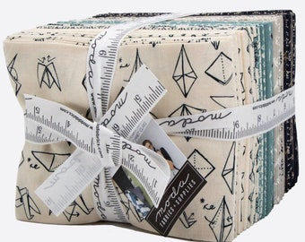 Modern fat quarter or jelly roll fabric bundle Origami by Janet Clare for Moda | patchwork fabric | coordinating fabric by the half metre