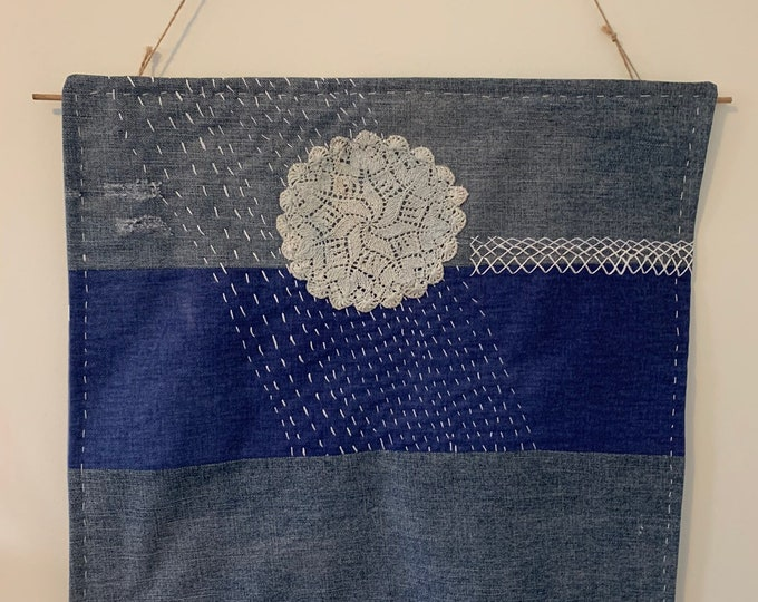 Featured listing image: Wall Hanging | Boho Home Decor | Recycled Jeans | Boro Hand Stitching