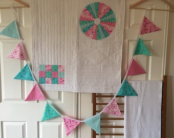 On sale - Crib / Cot Set - Modern Unisex quilt in aqua and pink, includes bunting and bath towel. Handmade, home decor.