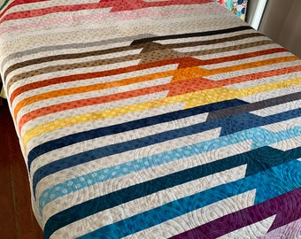 Rainbow Quilt | Queen bed size Quilt | Modern Design