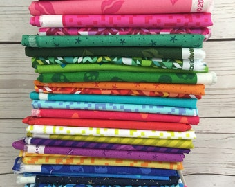 fat eight fabric bundle Mix Tape by Libs Elliott | Modern Fabric | Rainbow