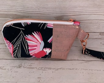 Zippered pouch | Galah and Rose Gold Cork fabric