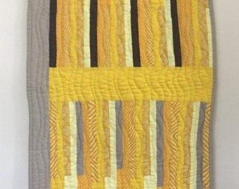 Modern Wall Hanging | Home Decor | Yellow Wall Hanging | Table Runner | Machine Quilted Wall Hanging | Miniature Quilt | Mini Quilt