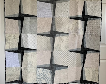 Rising Star - Modern Quilt In Black, Grey and Cream | Lap Star Quilt