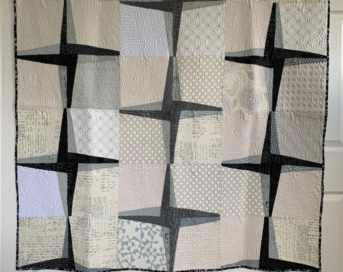 Featured listing image: Rising Star - Modern Quilt In Black, Grey and Cream | Lap Star Quilt