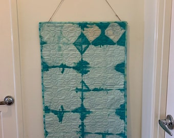 Table Runner | Wall Hanging | Home Decor | Shibori style | aqua colour dyed