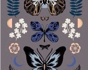 TigerFly Mother Panel Metallic Slate Grey by Sarah Watts for Ruby Star Society