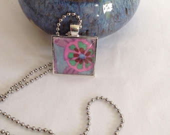 Bezel Set Fabric Necklace | Kaffe Fassett Fabric | Quilters Necklace | Quilt Fabric Necklace | Gift for Quilter | Quilters Jewellery