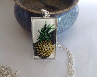 Bezel Set Fabric Necklace | Pineapple Fabric | Quilters Necklace | Quilt Fabric Necklace | Gift for Quilter | Quilters Jewellery