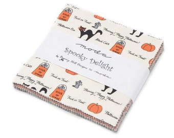 Spooky Delights charm pack fabric by Bunny Hill Designs Halloween fabric, modern fabric.