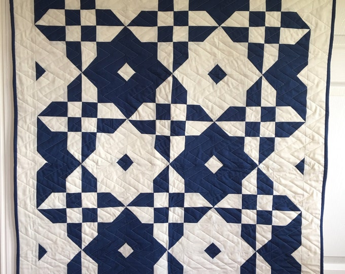 Featured listing image: Boy Cot /Crib Quilt | Blue and Cream Baby Quilt | Handmade Baby Quilt