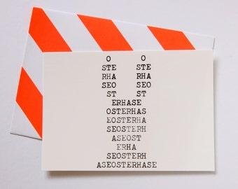 """Easter Card Typewriter """"Osterhase"""" Greeting Card Neon Striped Envelope"""