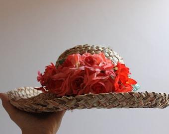 912c2937414 Vtg floral straw hat  Lined  straw hat  picnic hat  sun hat