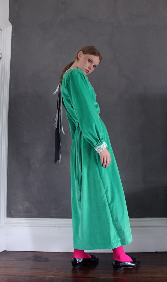 Vtg 70s velvet maxi dress/ bright green velvet/ M… - image 5