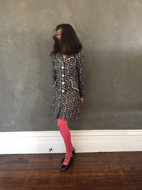 Vtg 70s floral mini dress