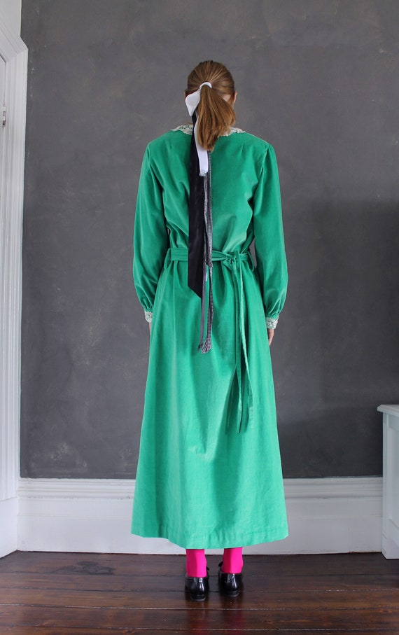 Vtg 70s velvet maxi dress/ bright green velvet/ M… - image 4