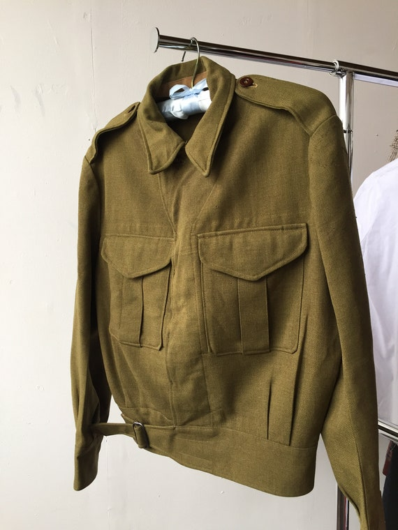 Vtg 40s military battle dress wool jacket