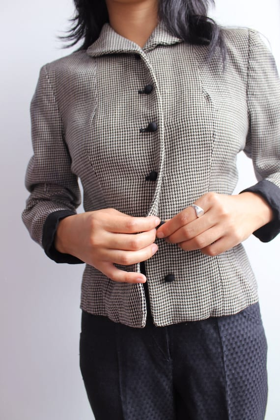 Vtg 1940s houndstooth wool jacket