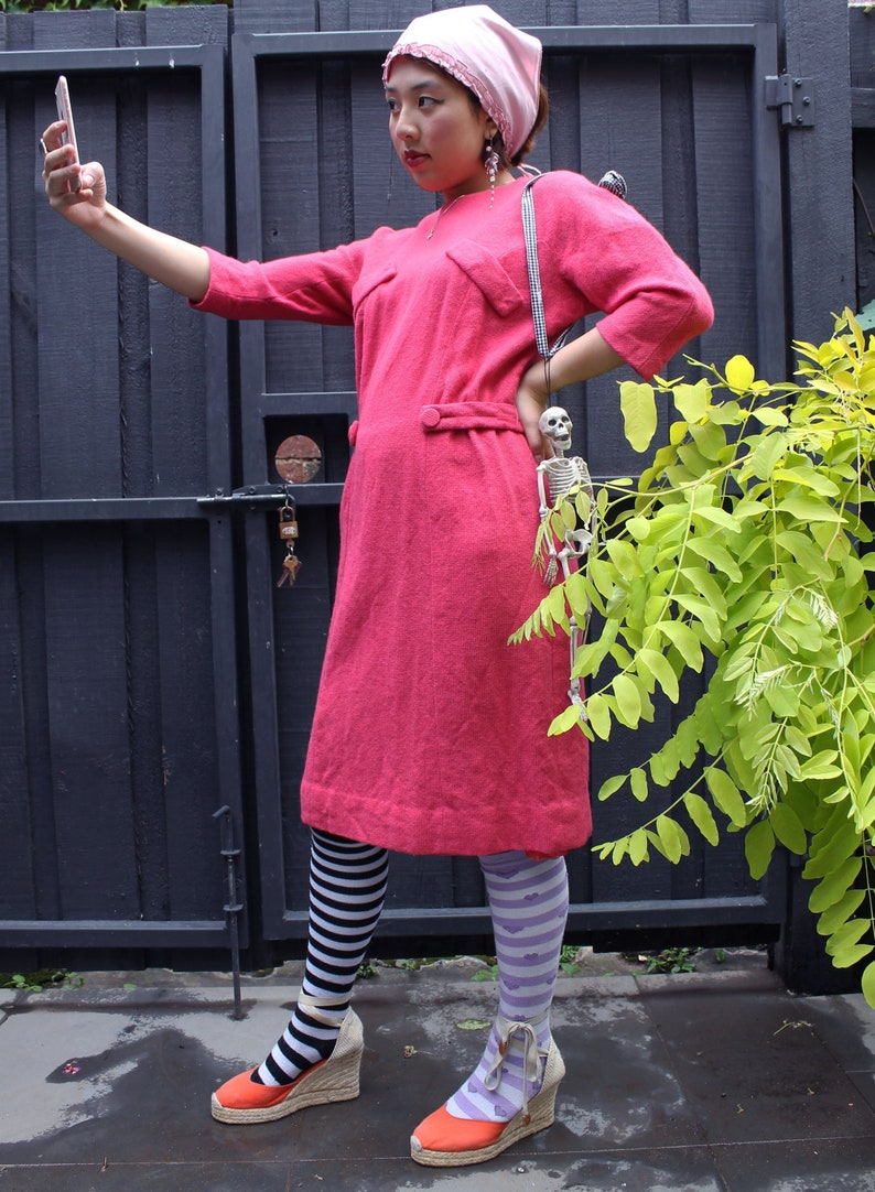 VTG wool hot pink dress pure wool Vintage 1950s dress Size S M Excellent condition Made in Melbourne